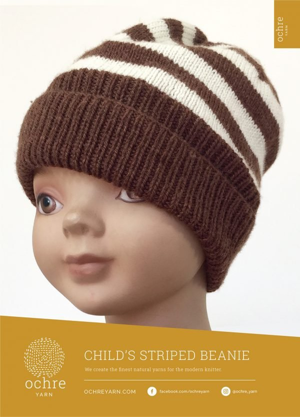 Ochre Yarn - Child's Striped Beanie Pattern