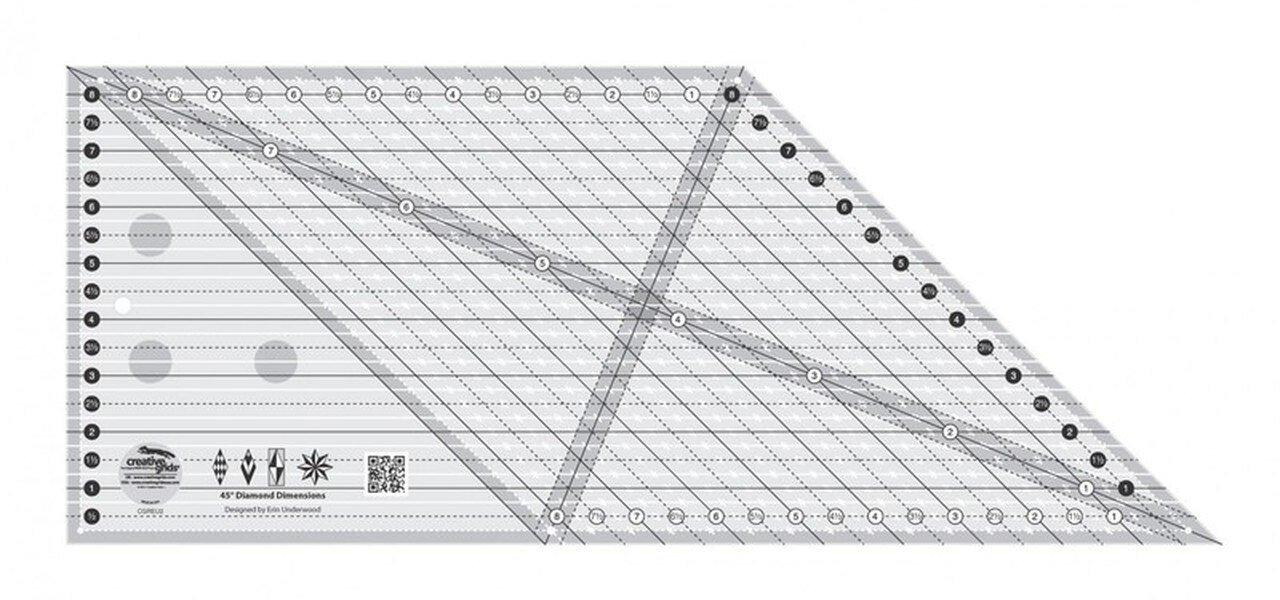 Creative Grids 45 Degree Diamond Dimensions Ruler