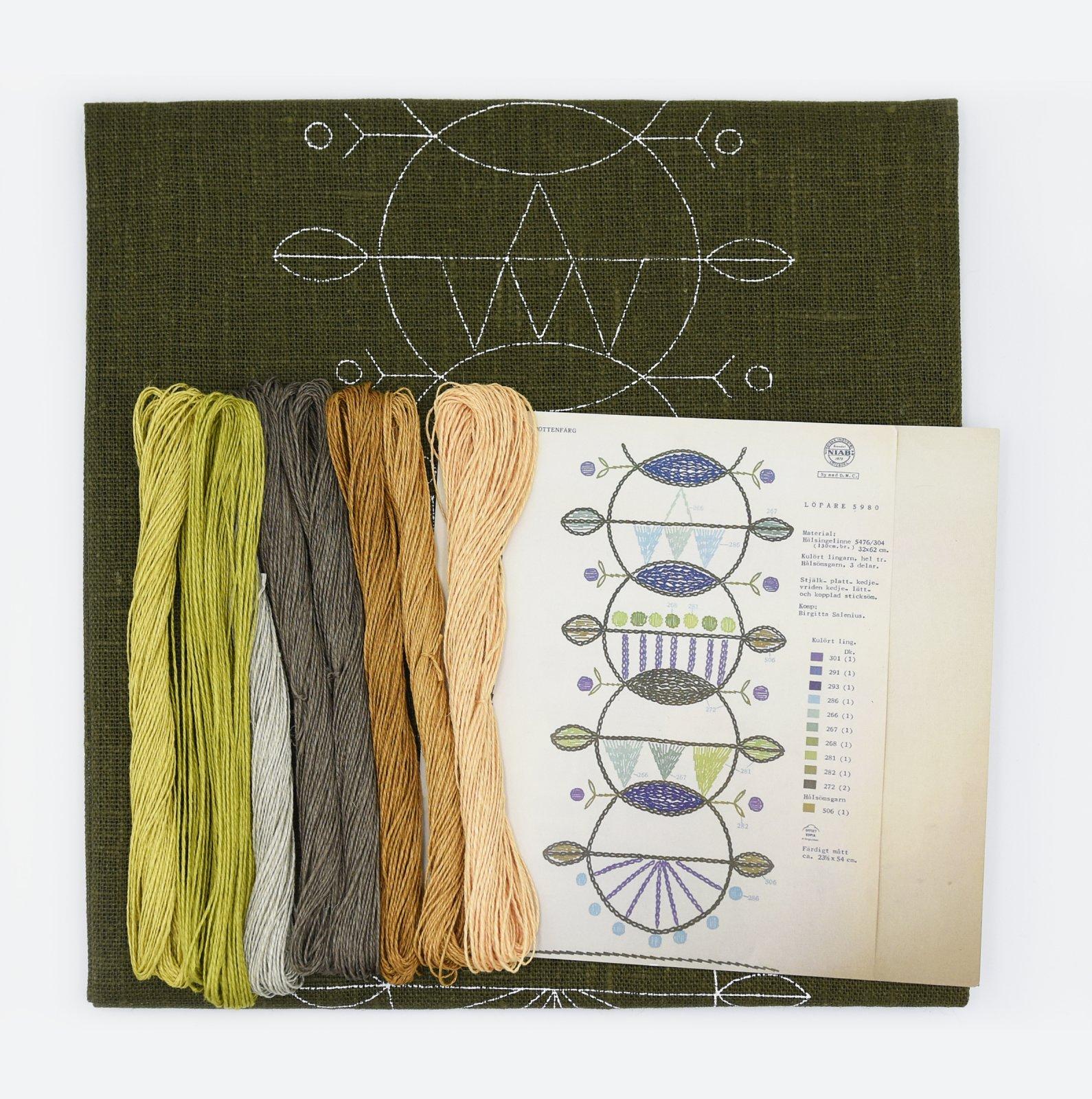 Linladan - Dark Olive Circle Runner - Nordiska print with linen threads