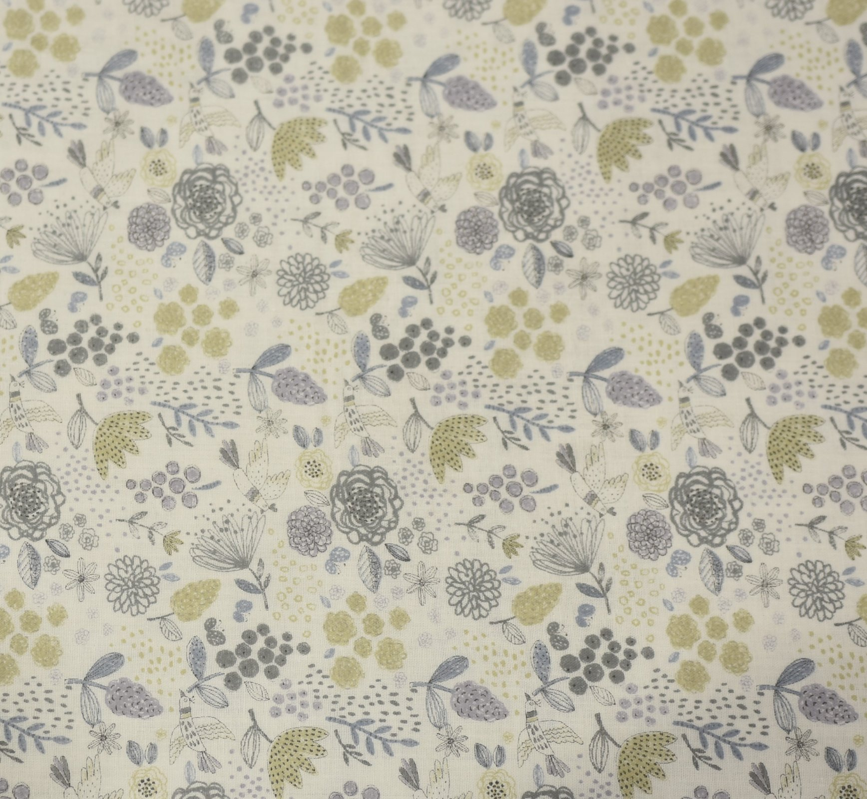 Japanese - Double Gauze - Soft Floral - Green Grey