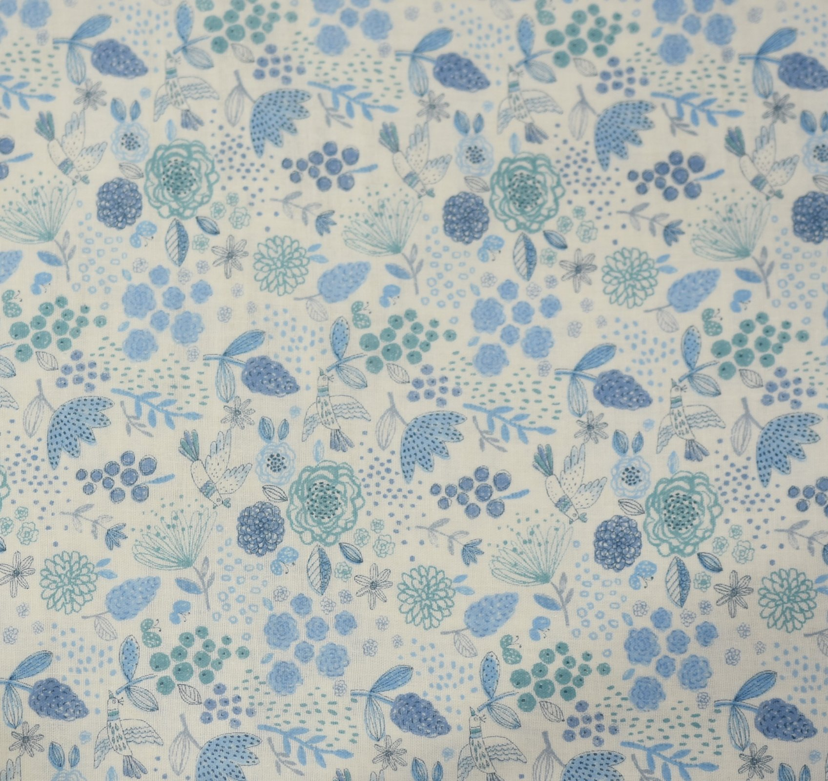 Japanese - Double Gauze - Soft Floral - Blue
