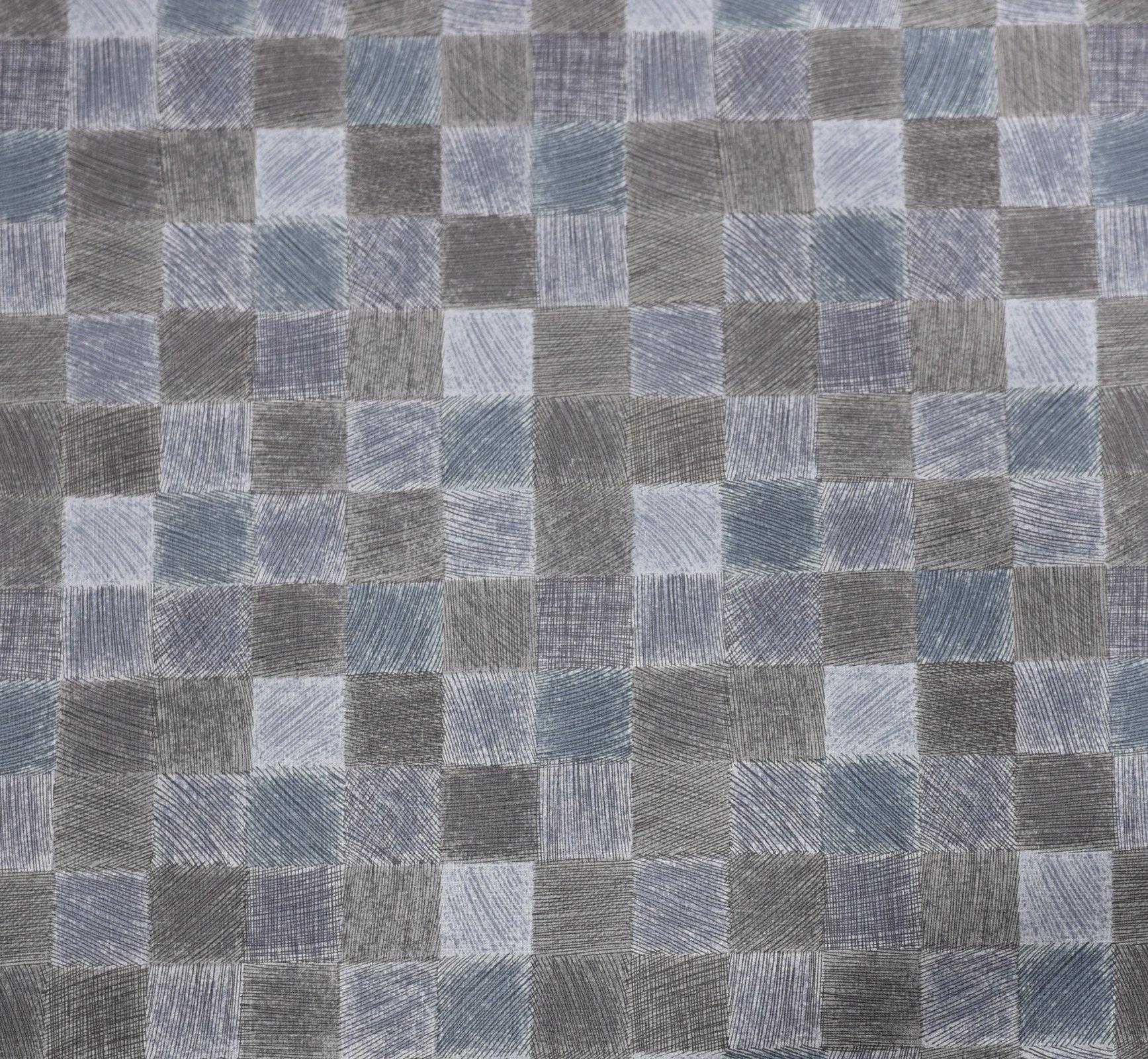 Kei Textiles - Geo Style - Blue Grey - Multi Check - copy