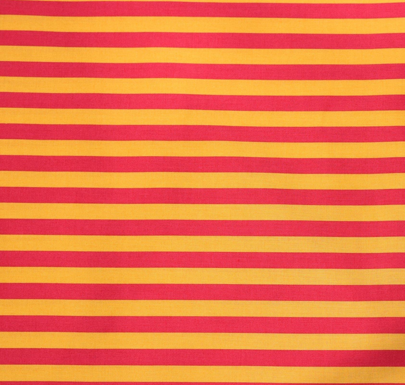 Japanese Fabric - Color Cocktails - Thick Stripe - Orange/Lipstick