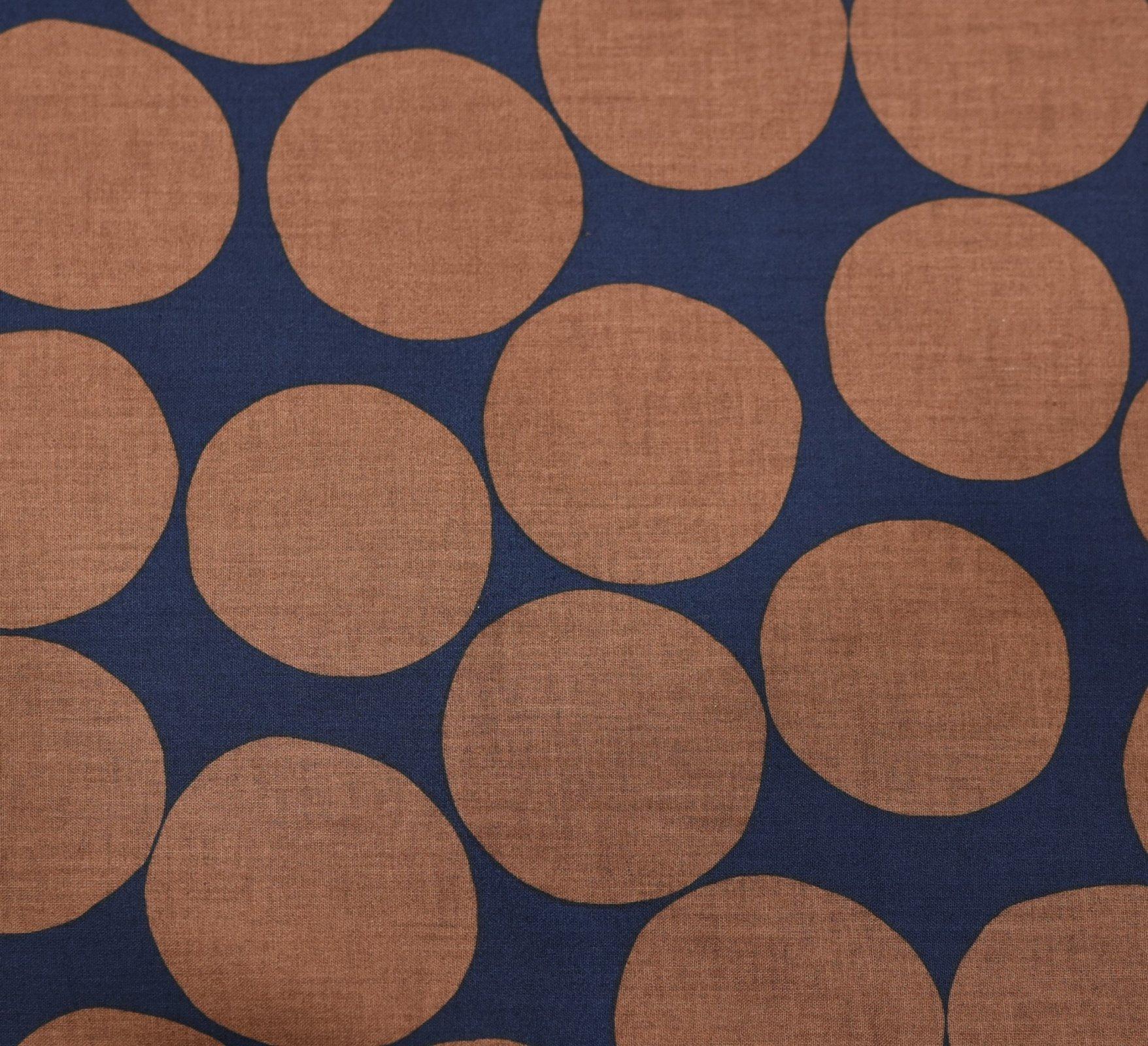 Hokkoh Fabric - Oversized Spot - Navy & Brown