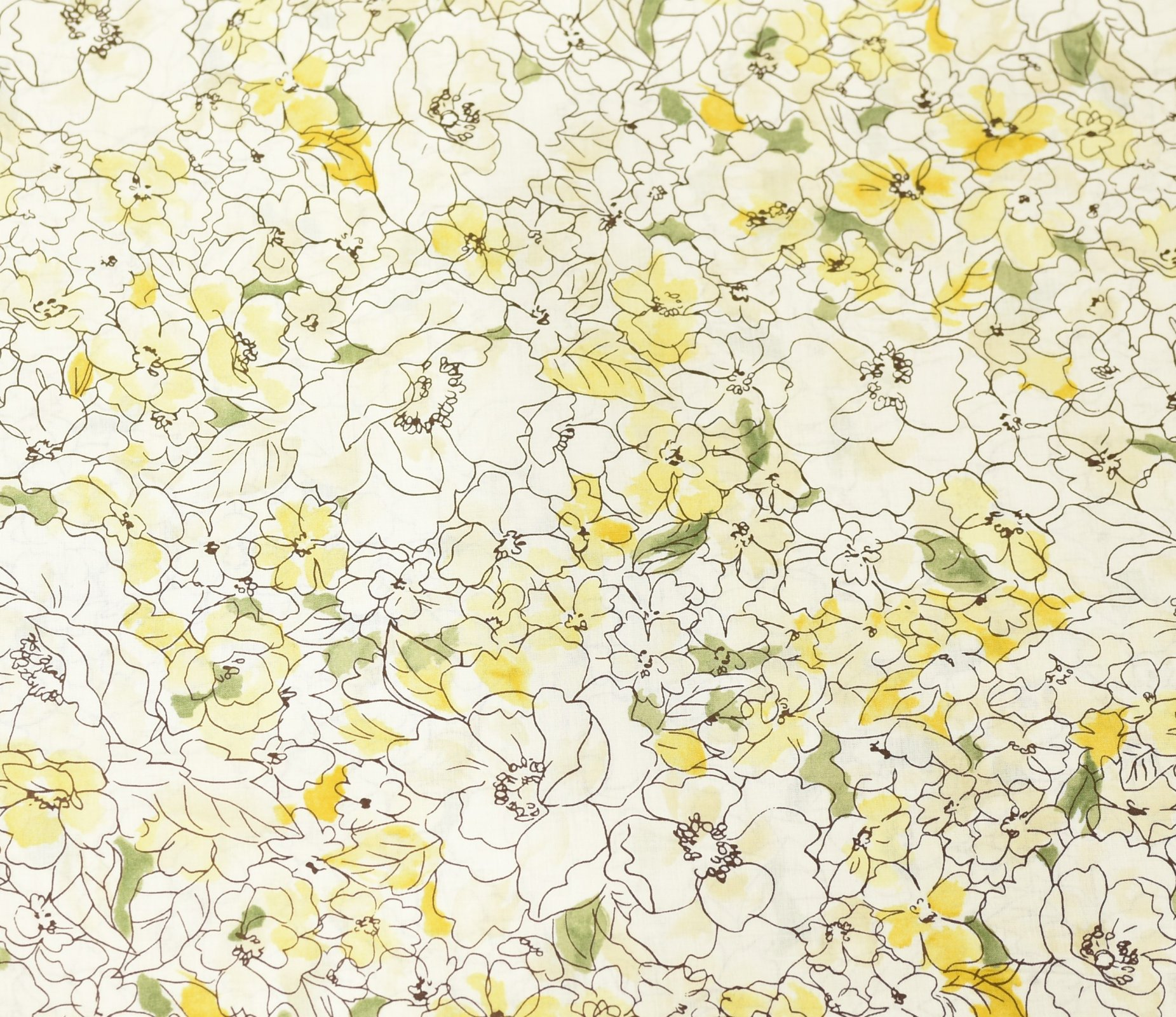 Hokkoh Fabric - Lawn Fabric - Watercolour Sketched Floral Yellow