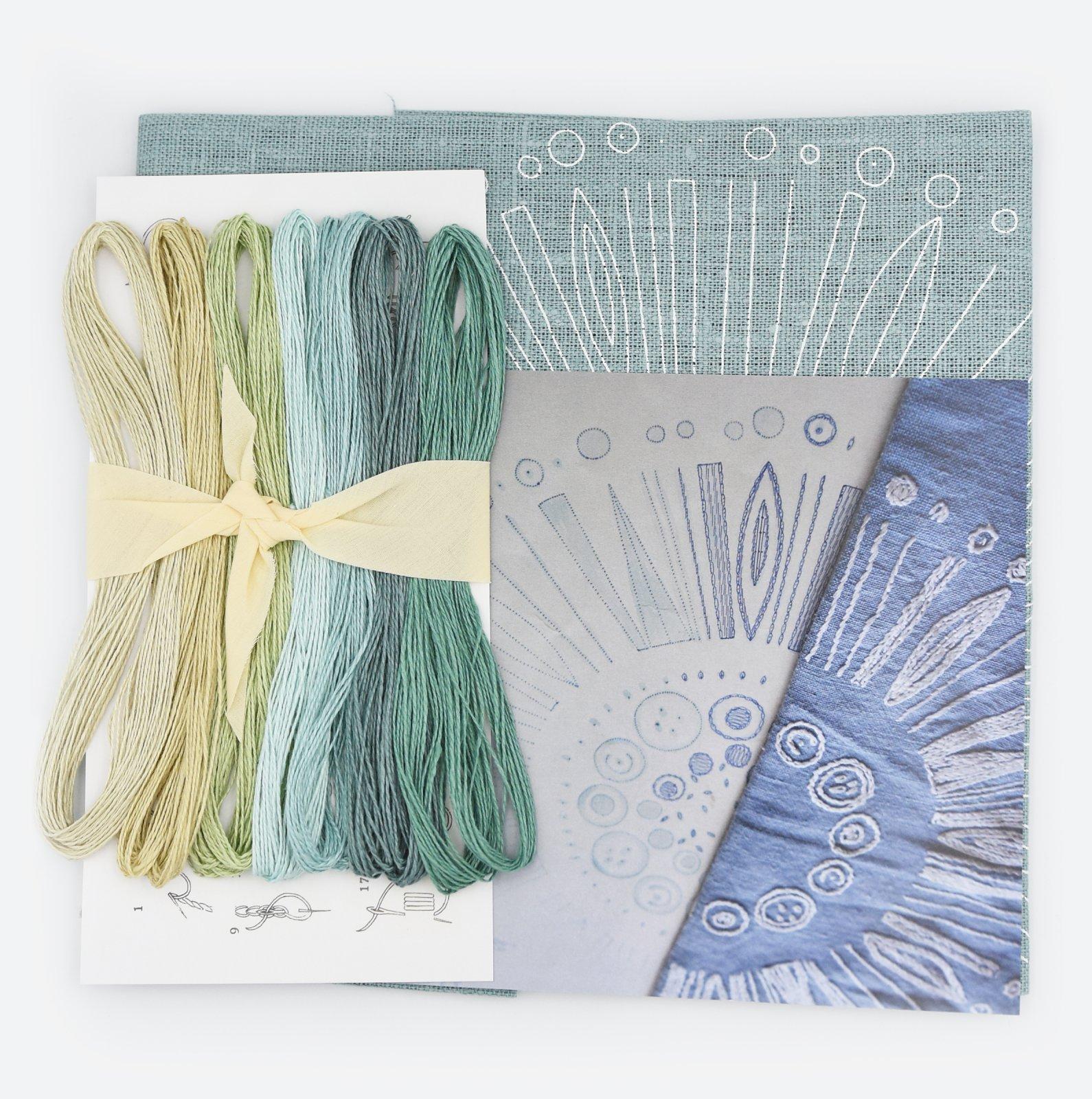Linladan - Duck Egg Blue Circle - Nordiska print with linen threads