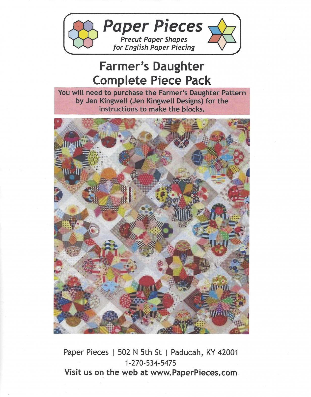 I'm A Farmer's Daughter By Jen Kingwell - Paper Pieces - Complete Piece Pack - Includes Pattern