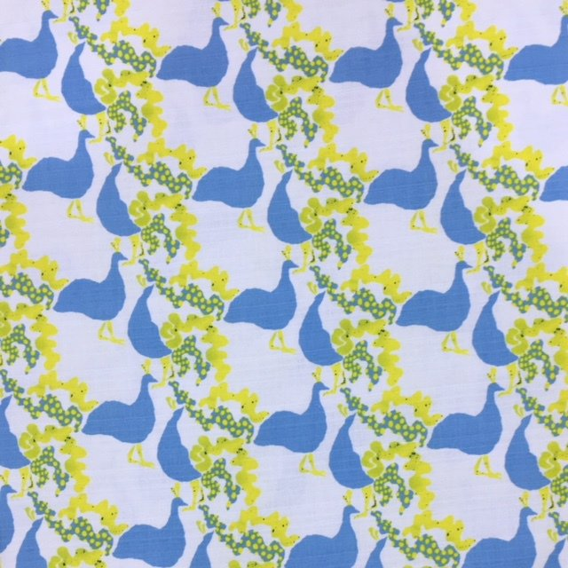 Kokka Fabrics - Peahen - Blue / Yellow