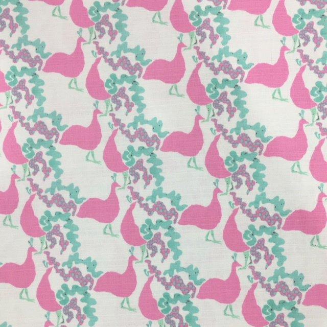 Kokka Fabrics - Peahen - Pink / Green