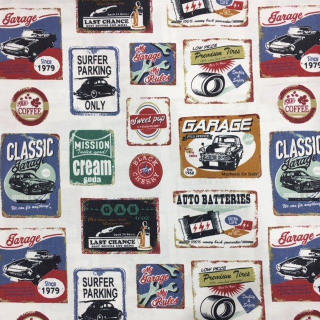 Kokka Fabrics - Retro Pop Car - Multi