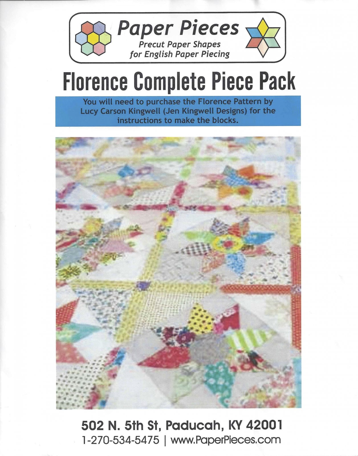 Florence By Lucy Carson Kingwell - Paper Pieces - Complete Piece Pack - Includes Pattern