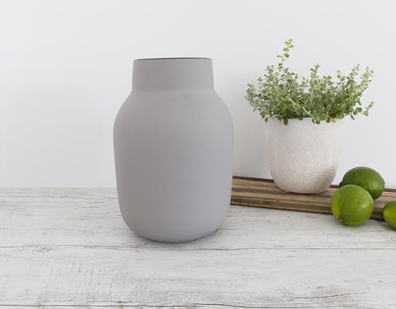 Flax Ceramics - Large Tub Vase - Grey/Black