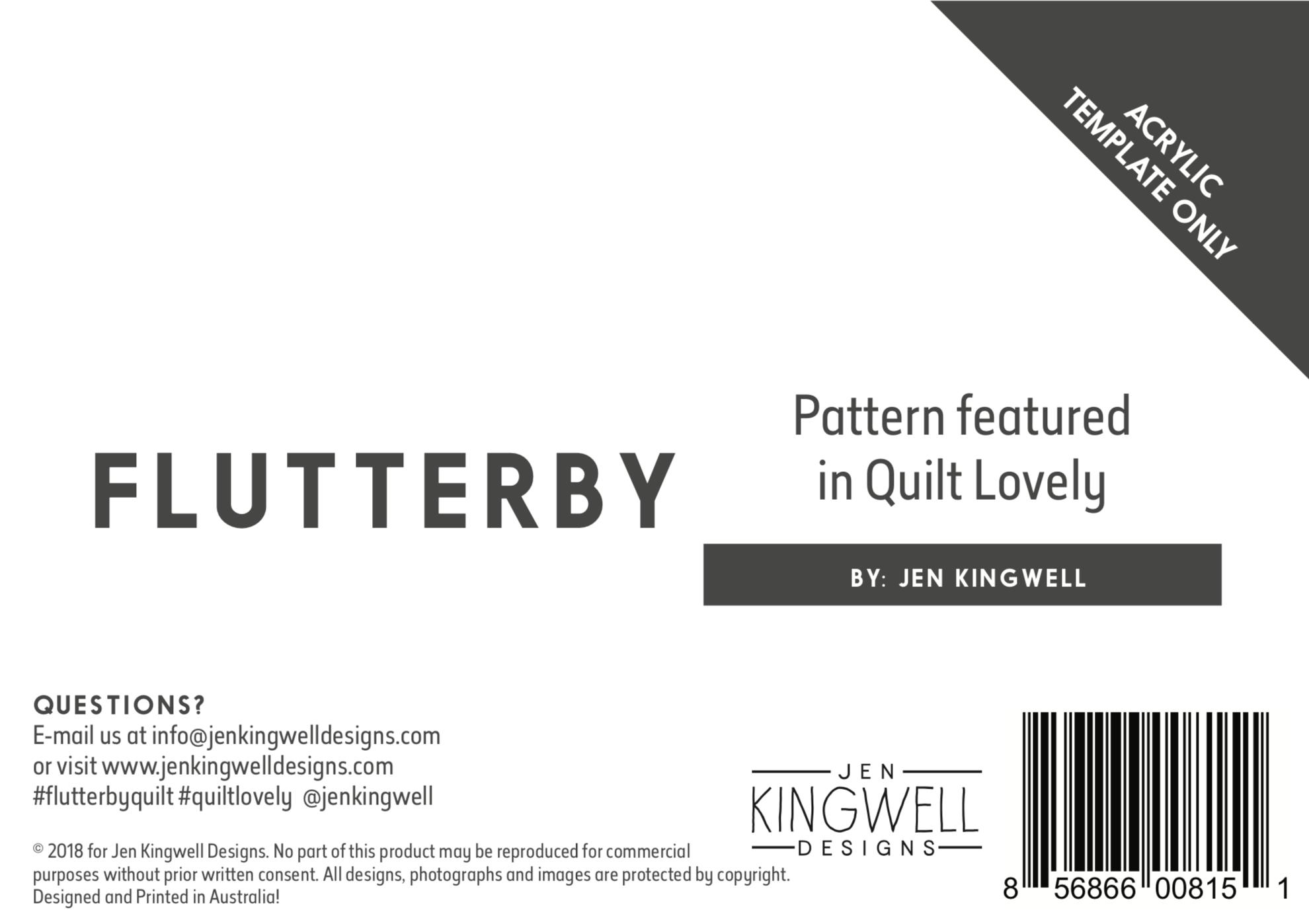 Flutterby Acrylic Template Only by Jen Kingwell Designs