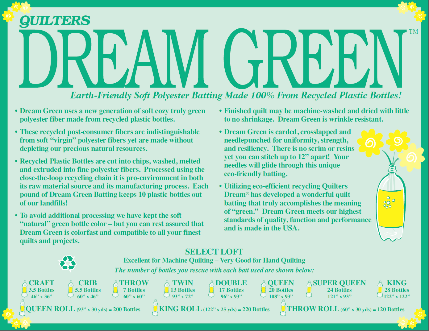 Off The Roll - KING SELECT Quilters Dream Green - per metre