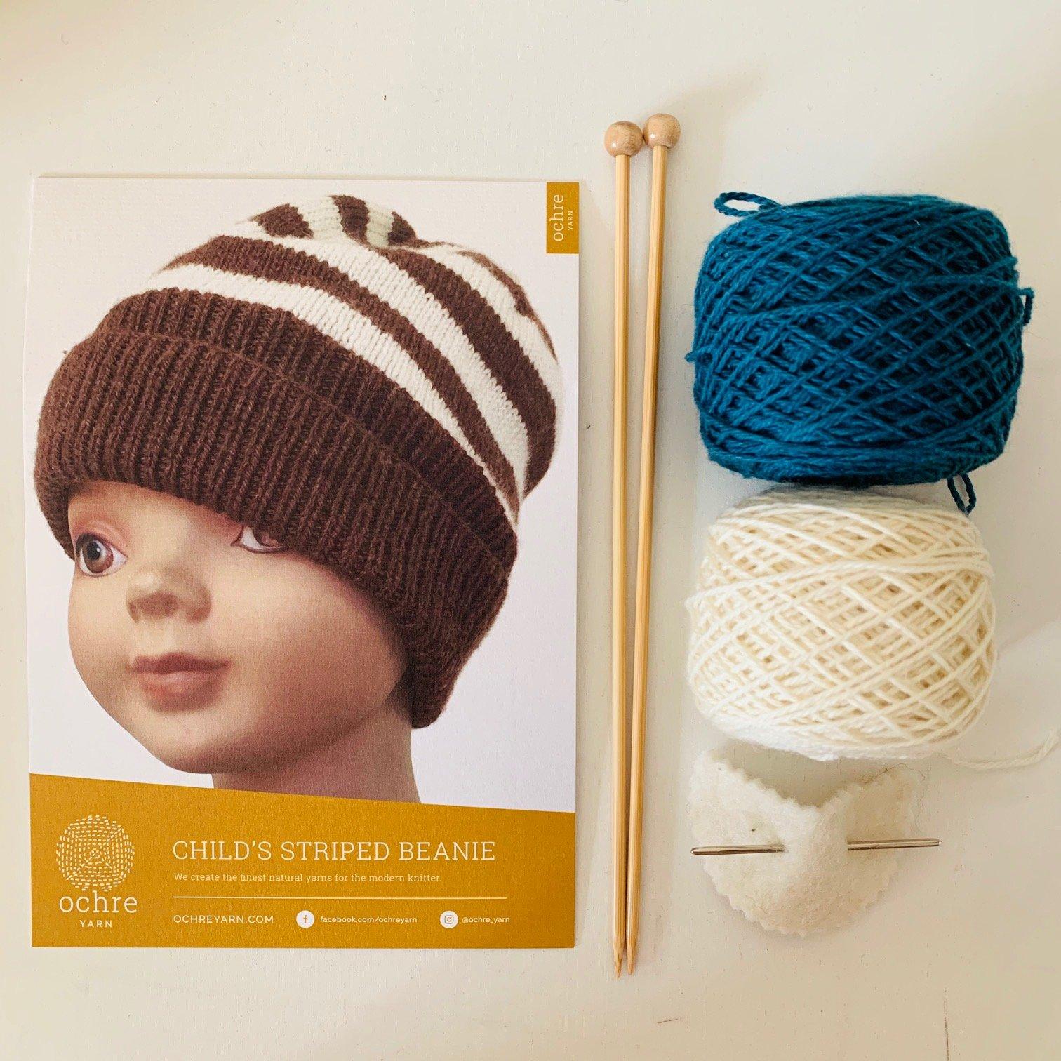 Ochre Yarn - Child's Stripes Beanie - Kit