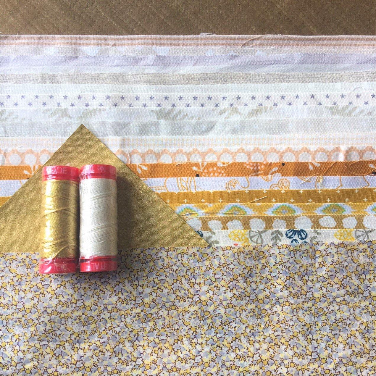 Louise Papas - Champagne Christmas Cushion Kit - Fabric, Pattern & Aurifil Thread