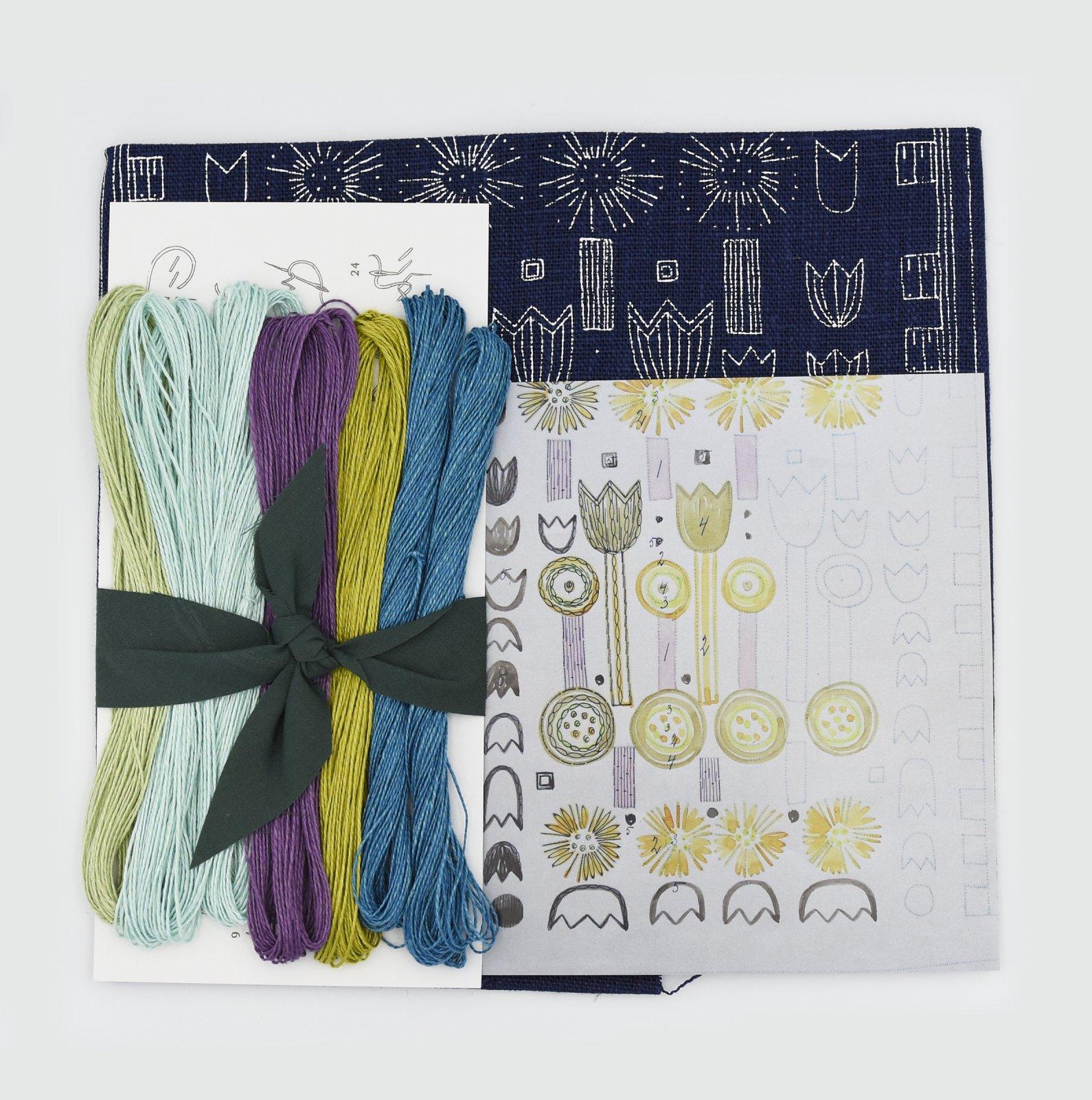 Linladan - Indigo Tulip - Nordiska print with linen threads