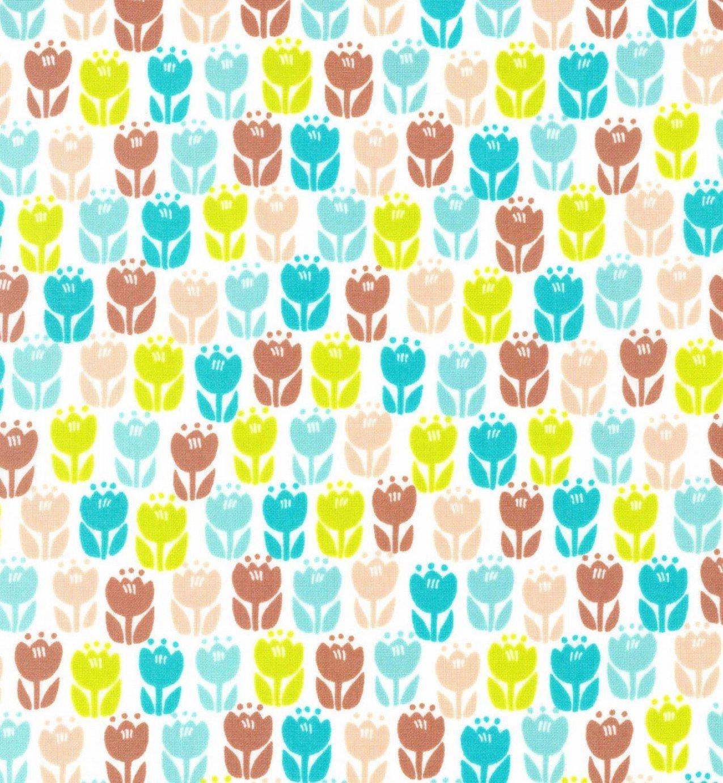 Kokka Fabric - Fantastic World - Tulips - Green/Brown