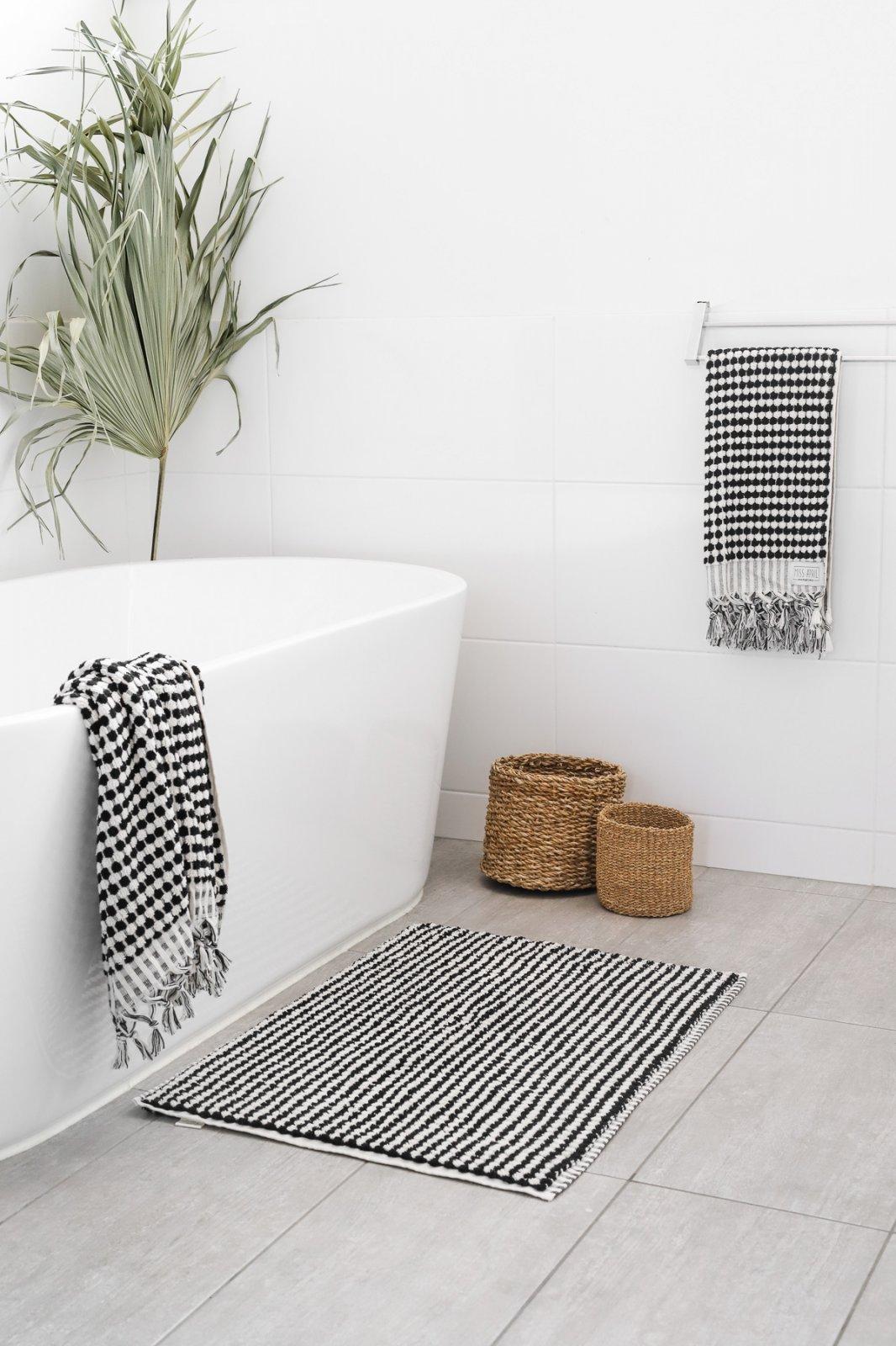 Miss April - Pom Pom Bath Towel - Black and White