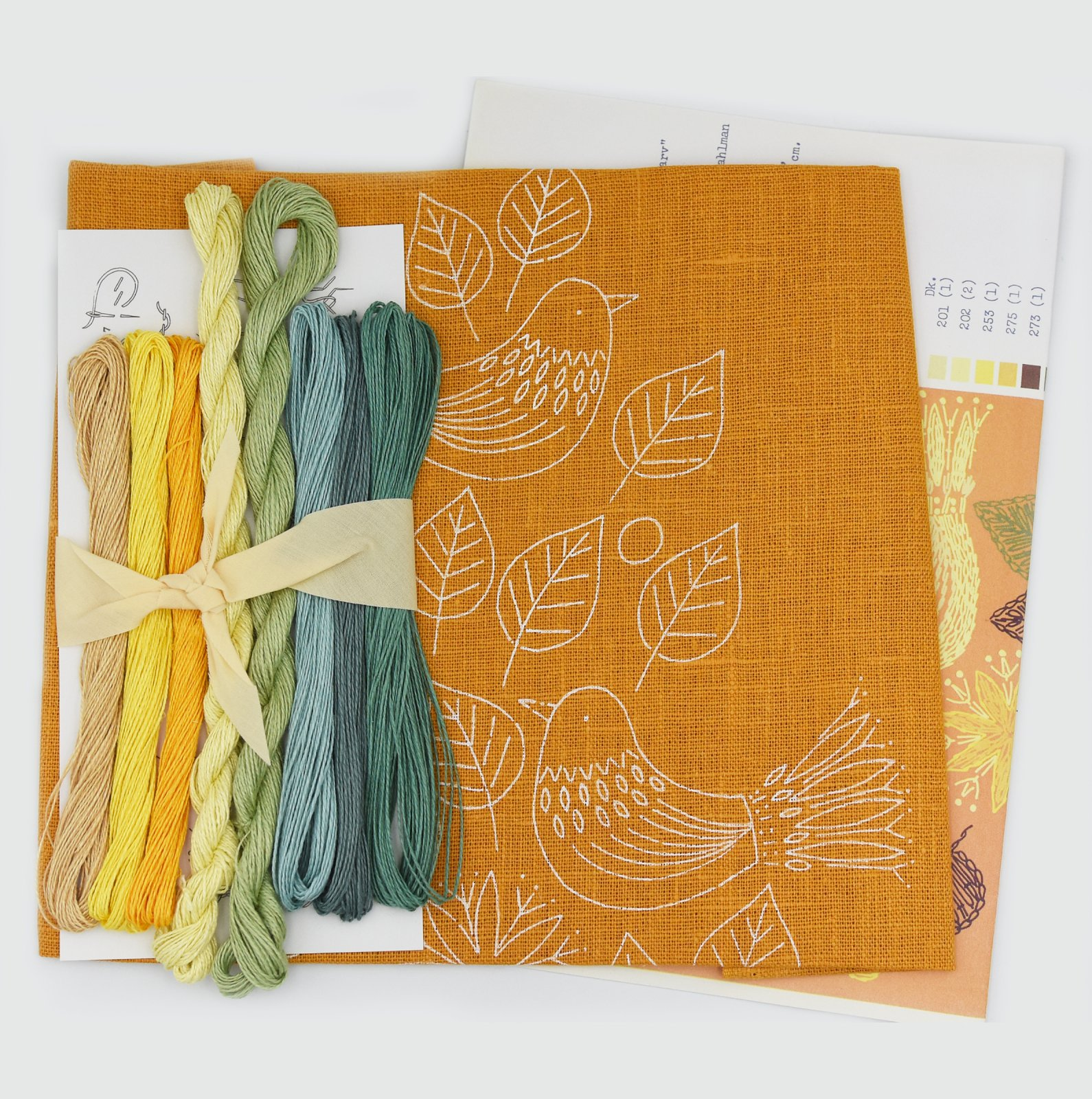 Linladan - Mustard Sparrows - Nordiska print with linen threads