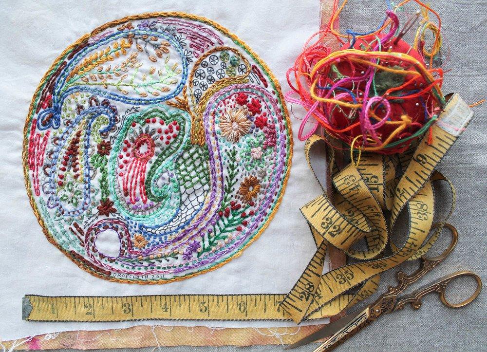 Dropcloth Embroidery Samplers - Paisley Sampler