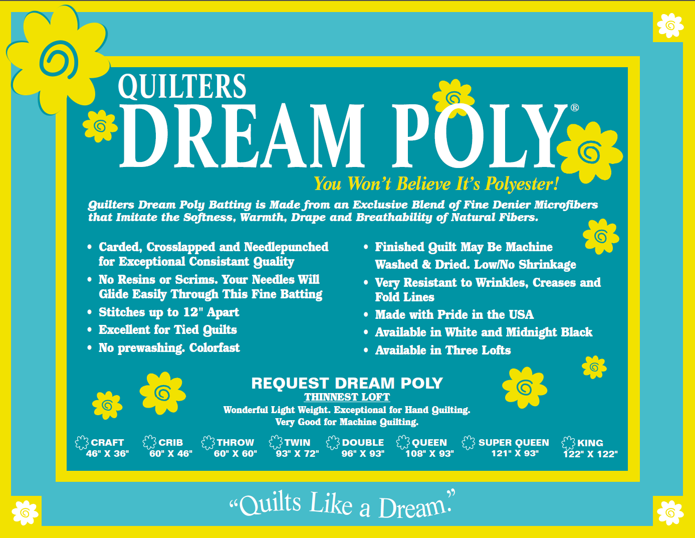 KING REQUEST Quilters Dream Poly