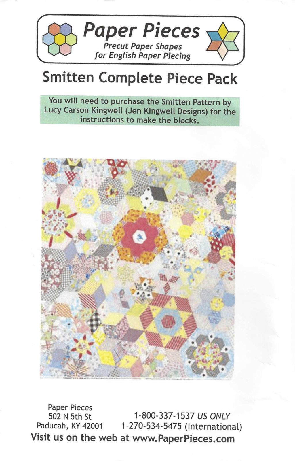 Smitten By Lucy Carson Kingwell - Paper Pieces - Complete Piece Pack - Includes Pattern
