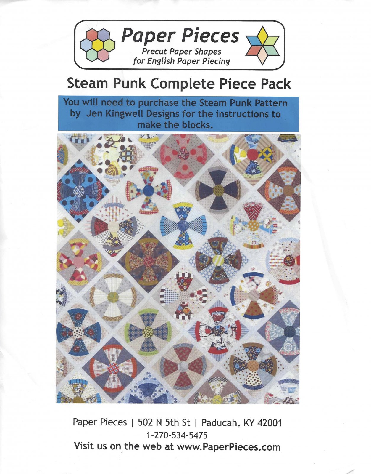 Steam Punk By Jen Kingwell - Paper Pieces - Complete Piece Pack - Includes Pattern