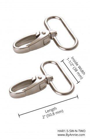 ByAnnie - Purse Parts - 1.5 Swivel Snap Hook - Nickel