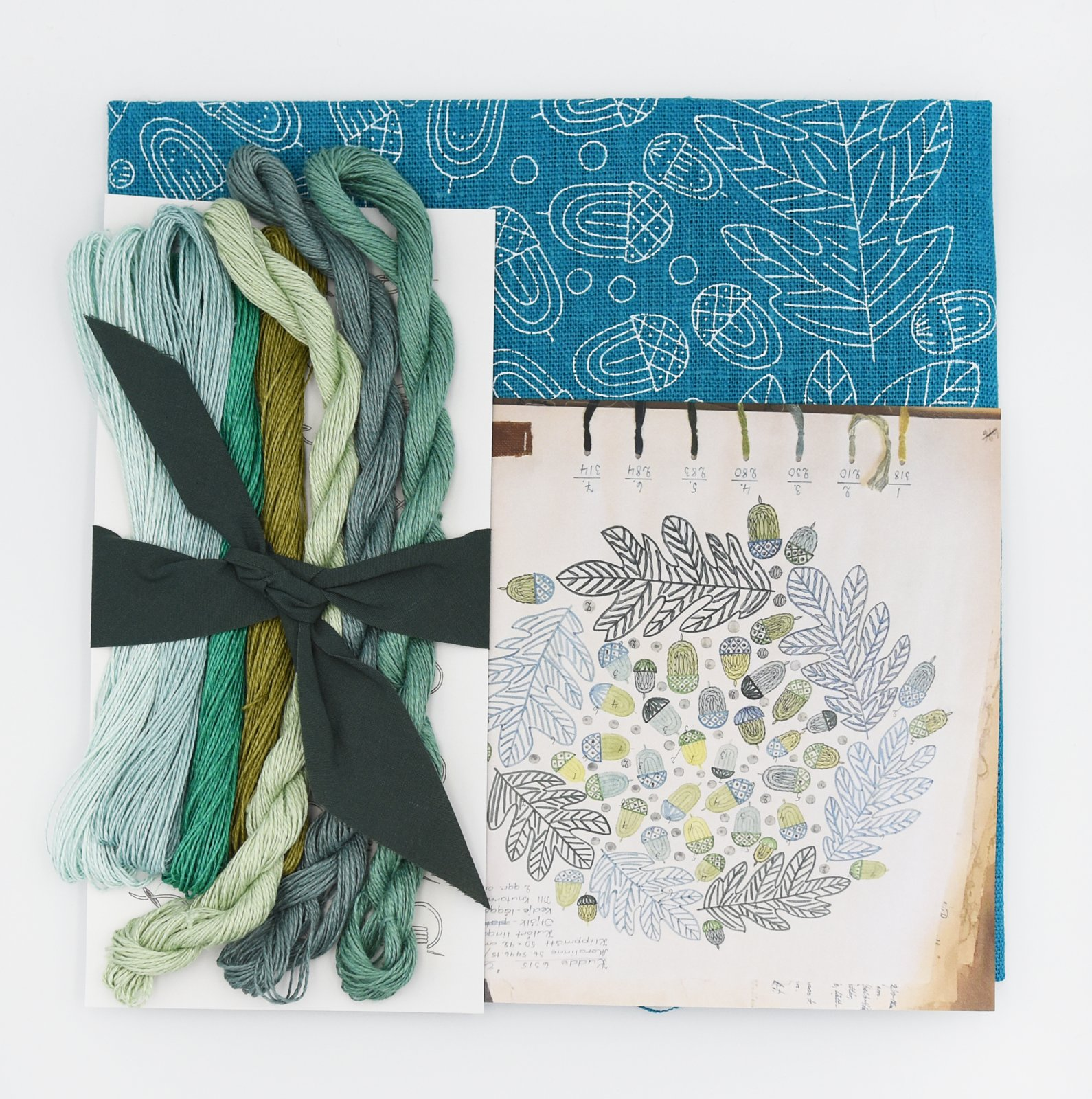 Linladan - Teal Acorn - Nordiska print with linen threads