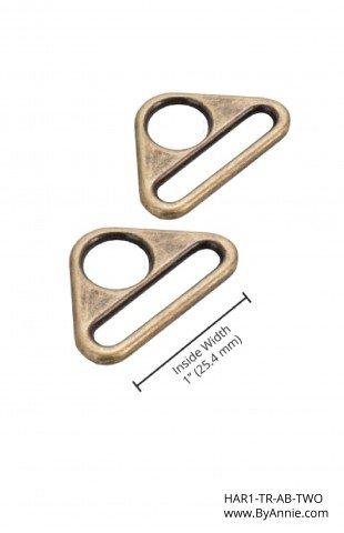 ByAnnie - Purse Parts - 1 Widemouth Sliders - Antique Brass