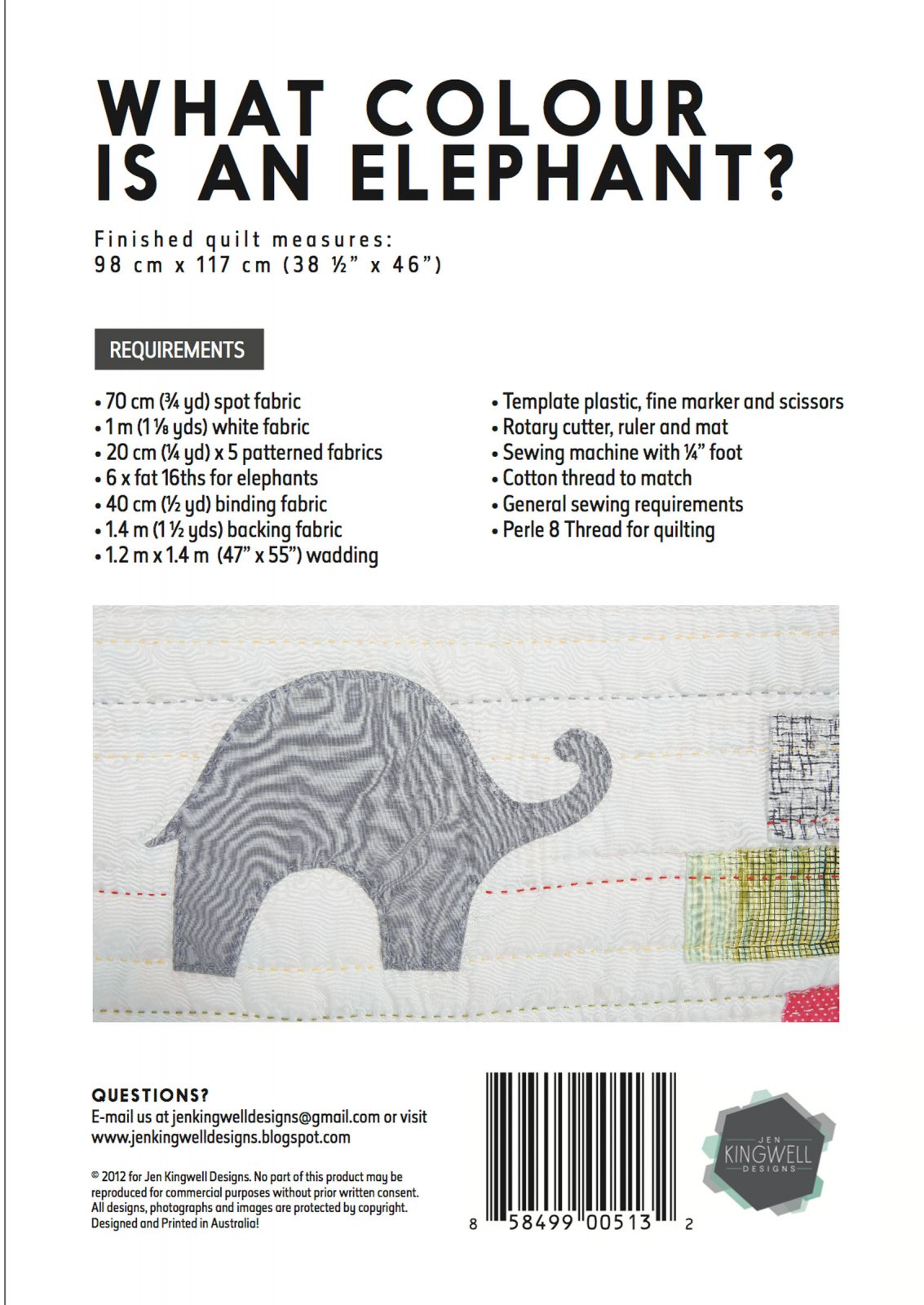 What Colour Is An Elephant Pattern By Jen Kingwell Designs