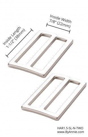 ByAnnie - Purse Parts - 1.5 Widemouth Sliders - Nickel