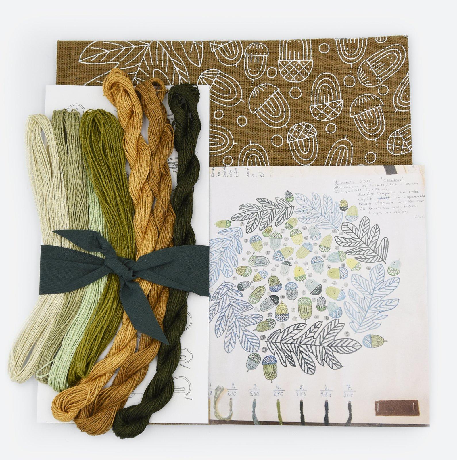 Linladan - Woodland Acorn - Nordiska print with linen threads