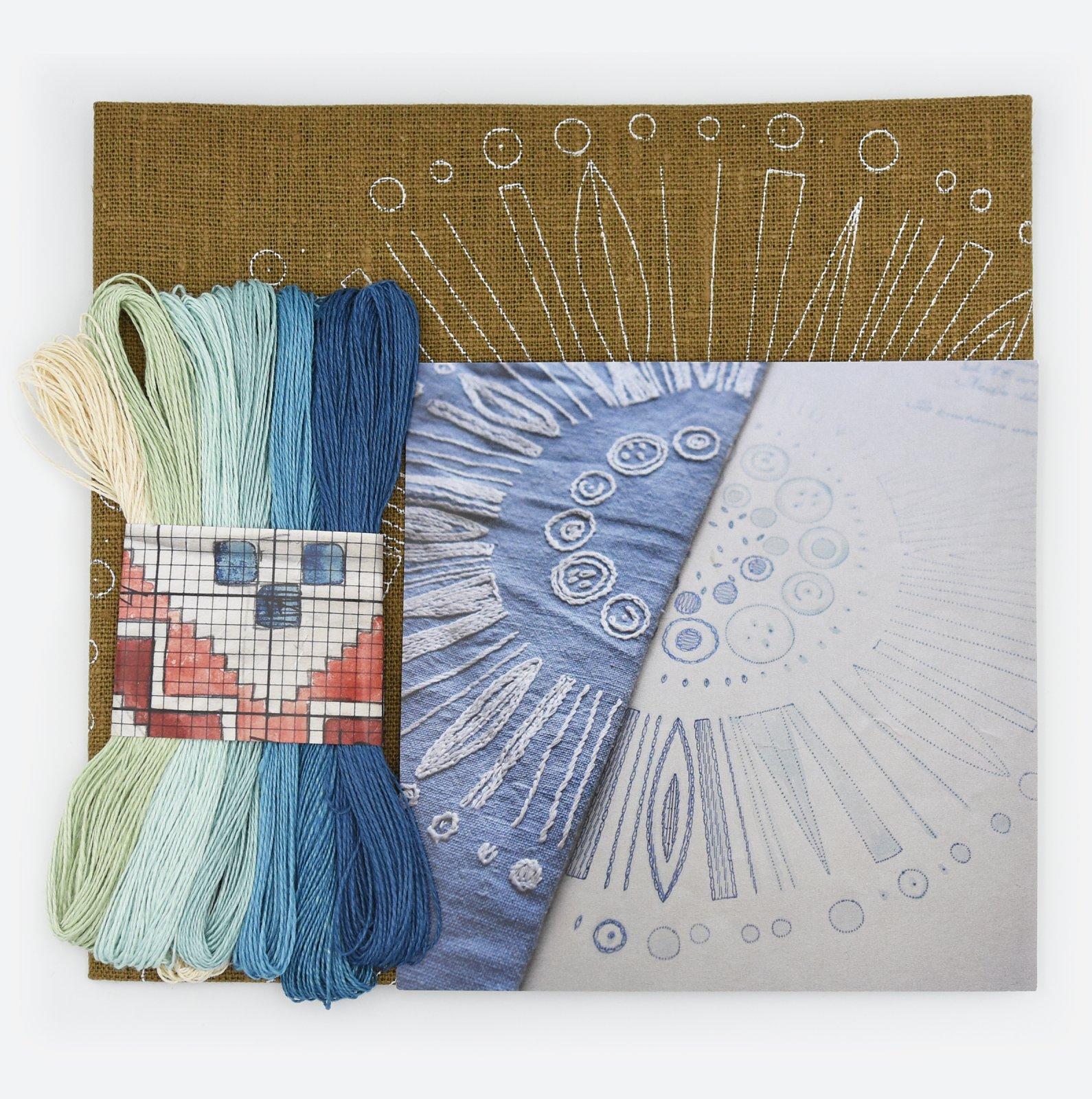 Linladan - Woodland Circle - Nordiska print with linen threads