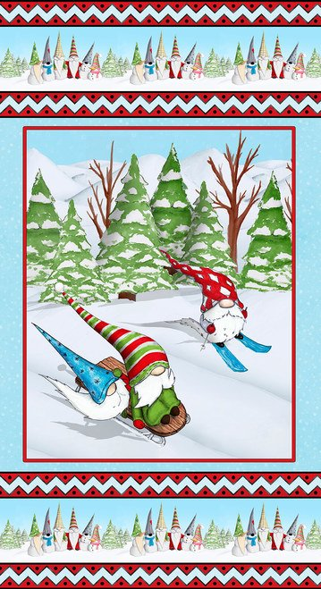 GNOMING THROUGH THE SNOW - LT BLUE GNOMES SKIING PANEL 1098P 11