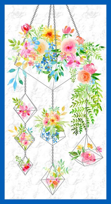 BOHO BOUQUET PANEL WHITE 1108P-01