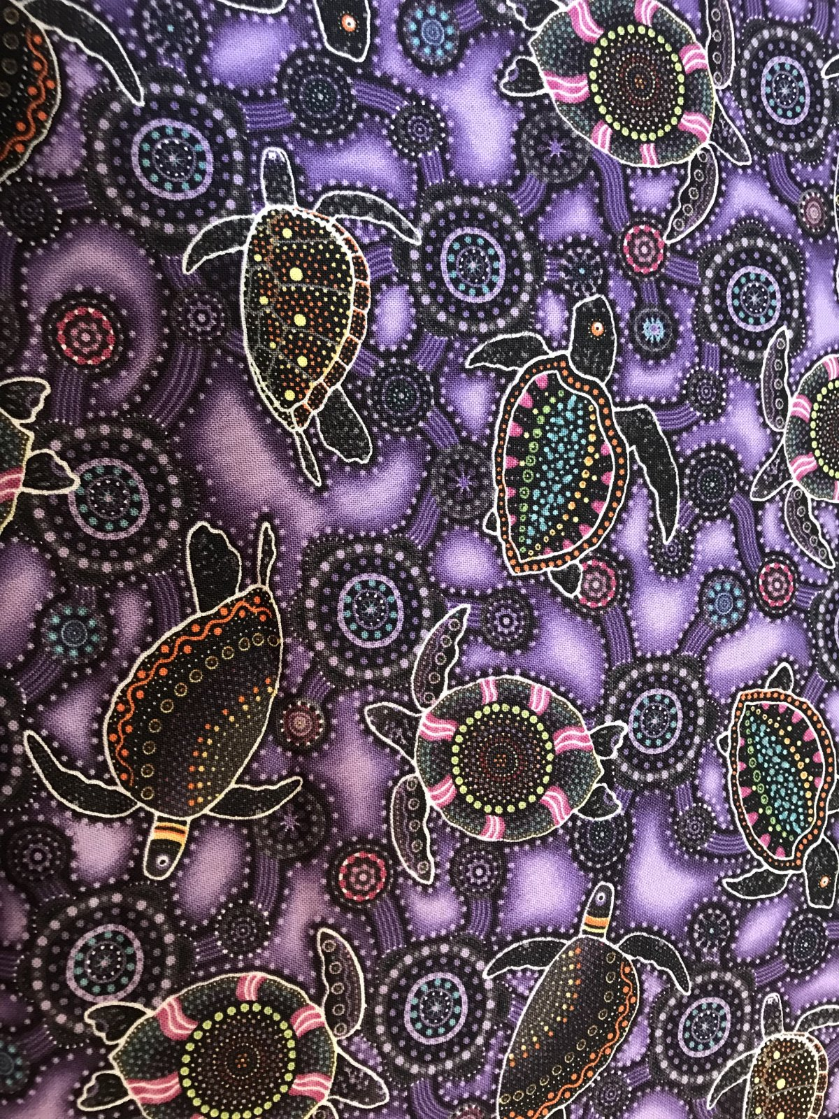 Down Under Cotton - sea turtles OA6011601 purple