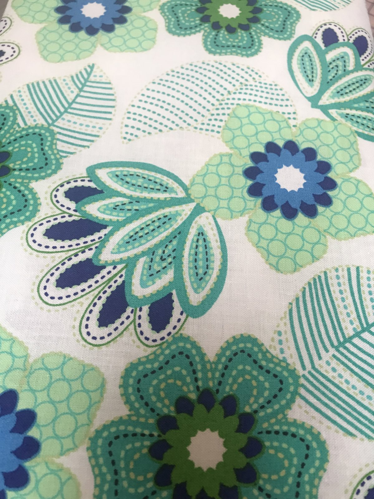 Carnival Blue - STITCHED FLORAL WHITE
