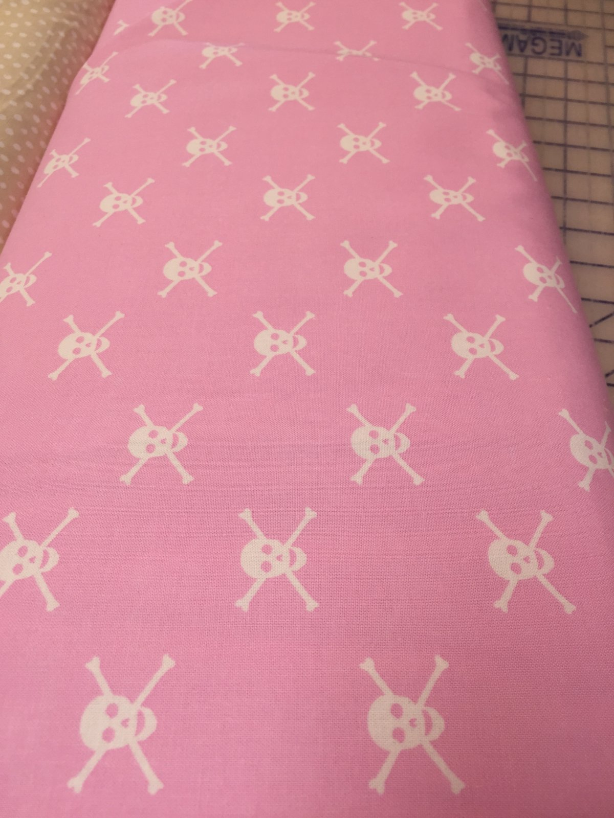 Pink with White Skulls