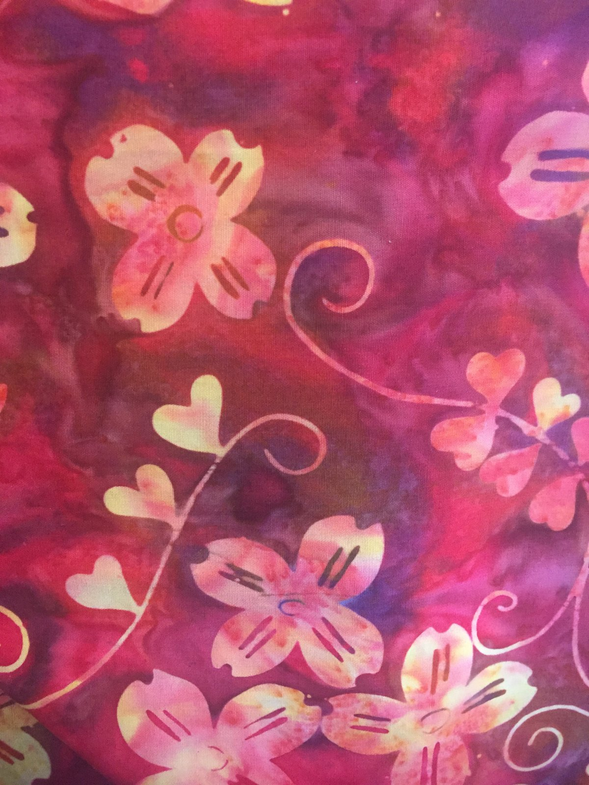 Shop Hop Fabric - Red with Dogwood and Hearts