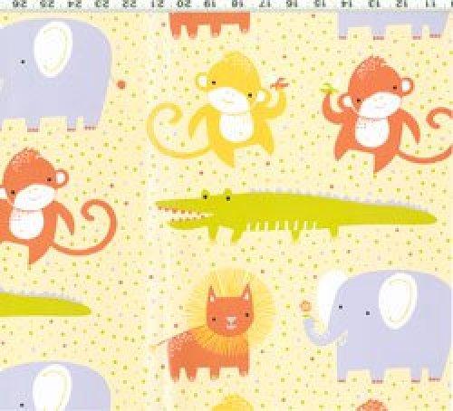 Safari Sweet - Organic fabric yellow dots allover animals
