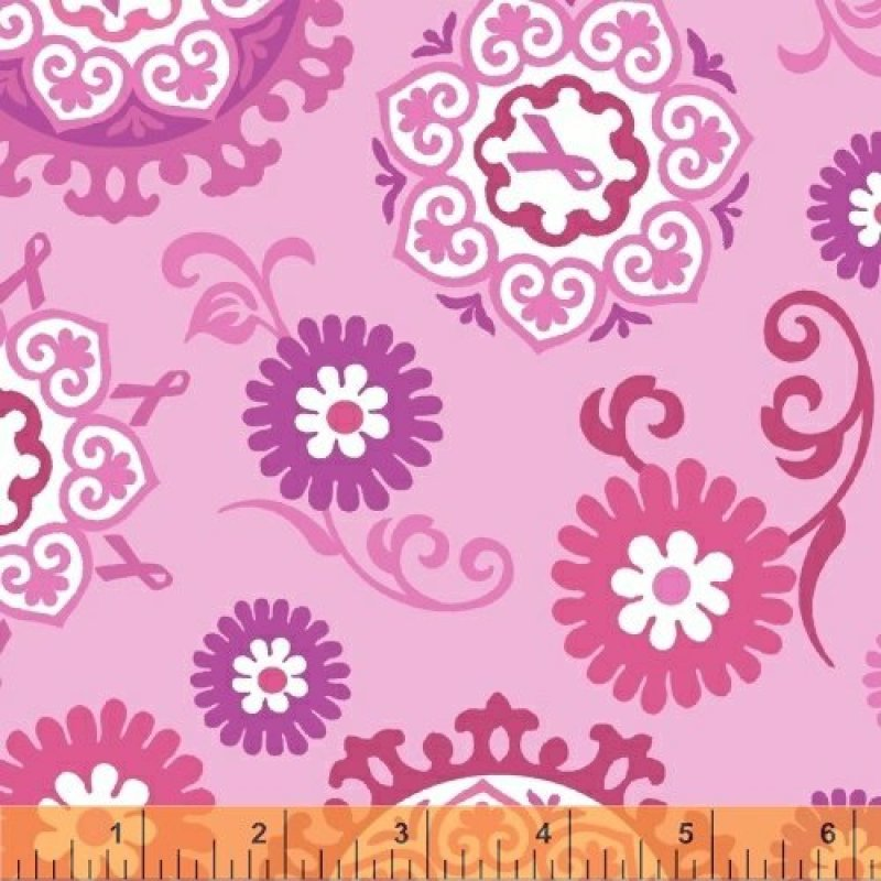 Project Pink - pink flowers and medallions on pink back ground
