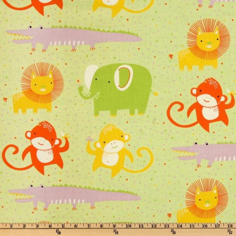 Safari Sweet - Organic Fabric green dots allover animals