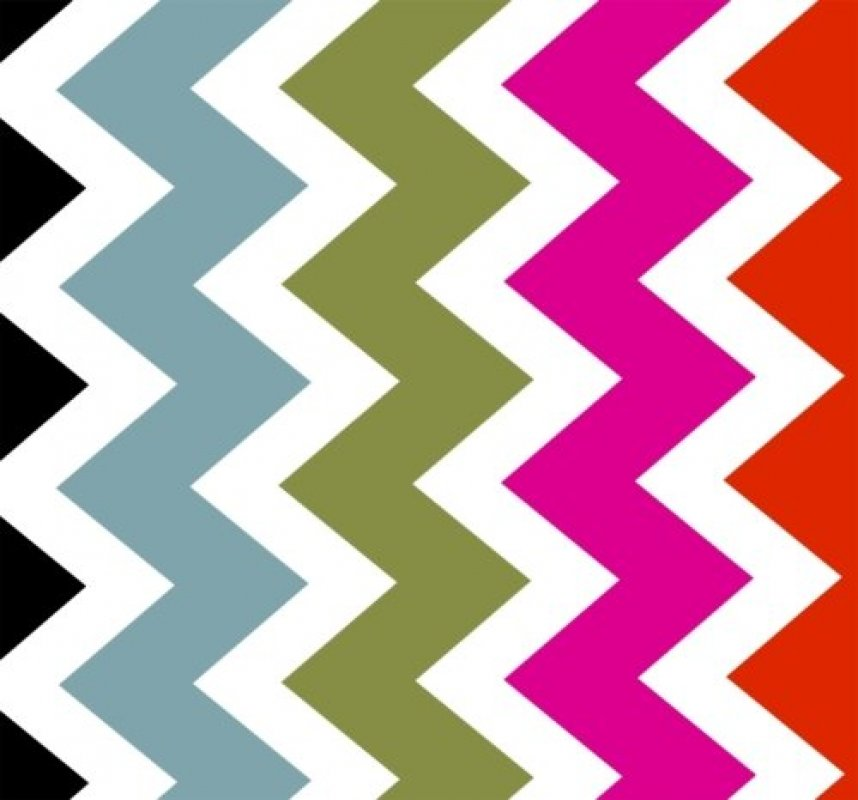 Ziggy - multi Bright color chevrons on white back ground