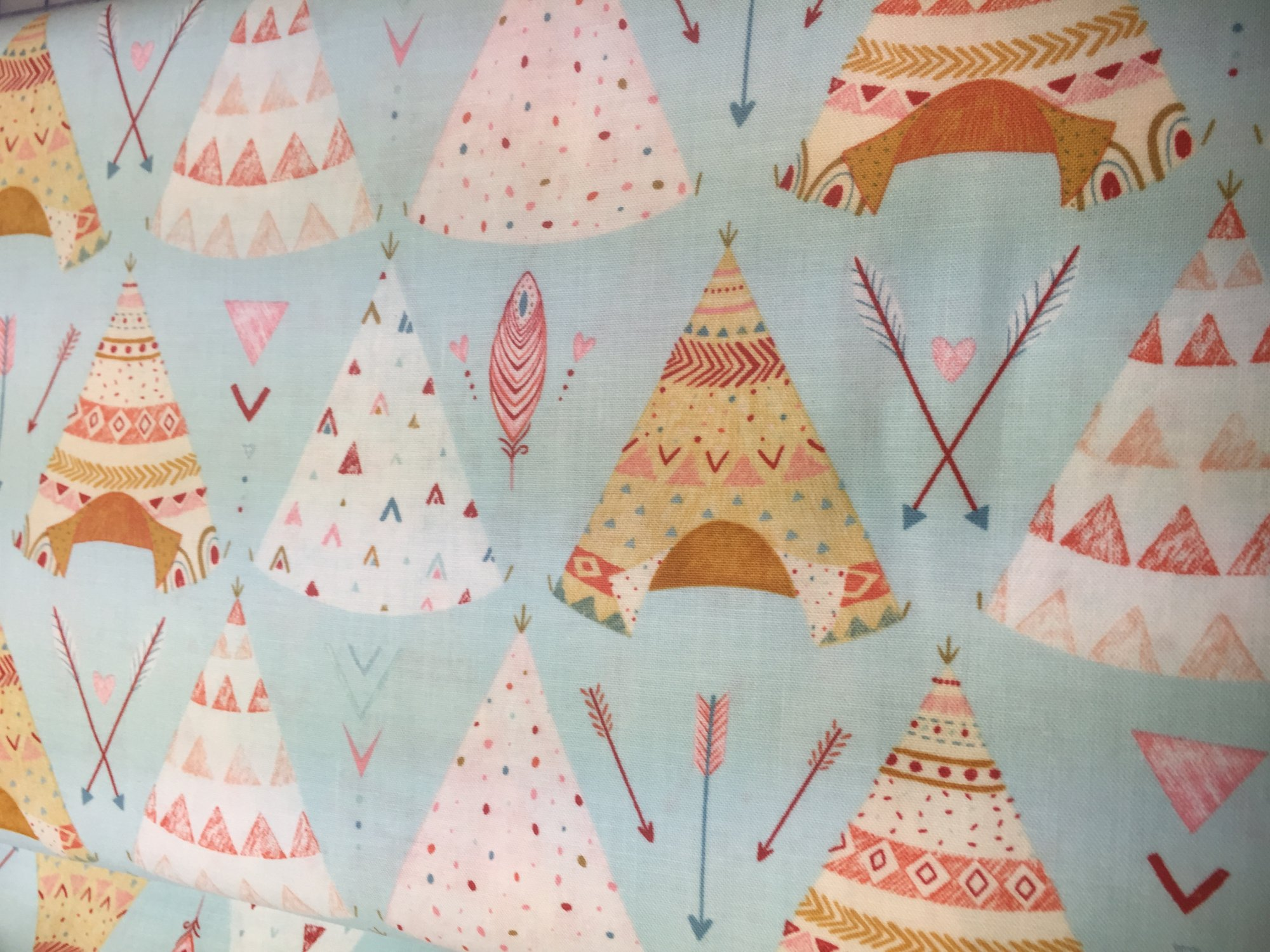 Dream Catchers by Lucie Crovatto - Blue background with teepees