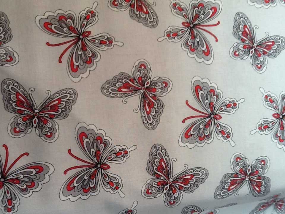 Rubies - white background with butterflys in red and black