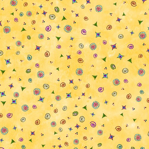 Garden Whimsey Yellow 32 as is 5.5 yards