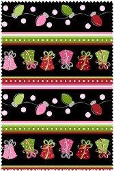 Merry and Bright Border Stripe Black 2552