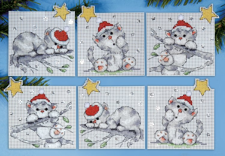 cross stitch ornaments msrp 1599 view large image 1684 christmas cats